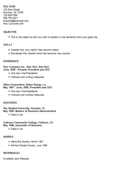 resume exle 10 free resume creator