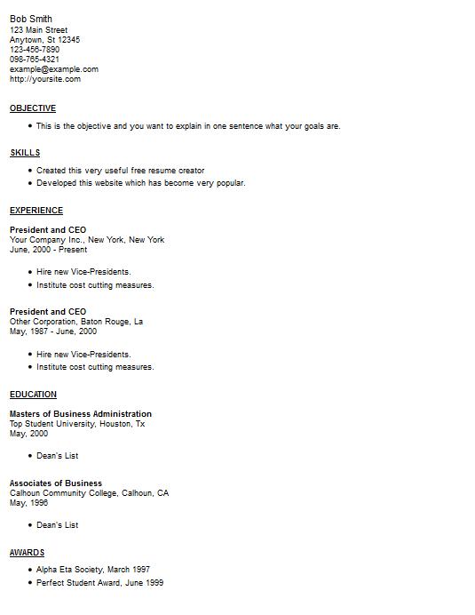 resume exle 12 free resume creator
