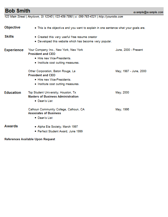 resume example 23 free resume creator