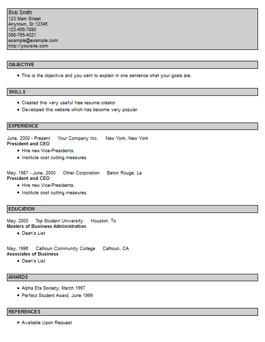 The pcman website free resume creator