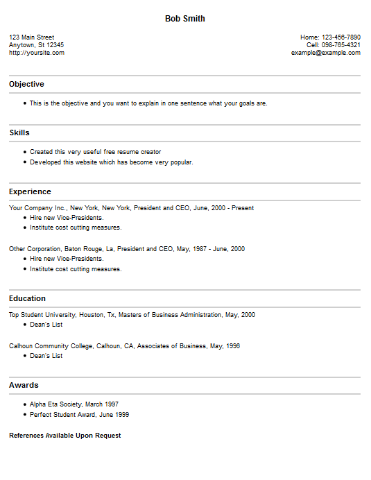 Resume Creator Free Job Cv Example