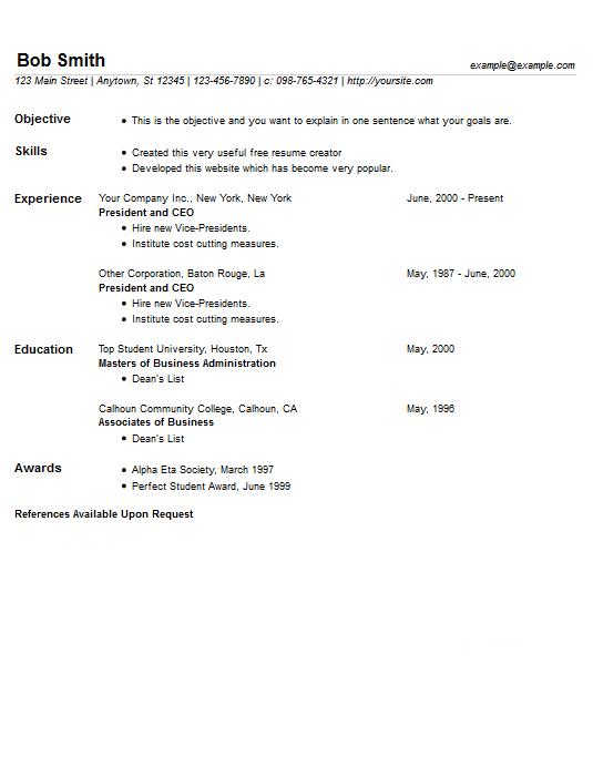 Free Resume Creator csuite resume samples free resume samples free cv template download free cv sample resume builder consulting resume Resume Example 7