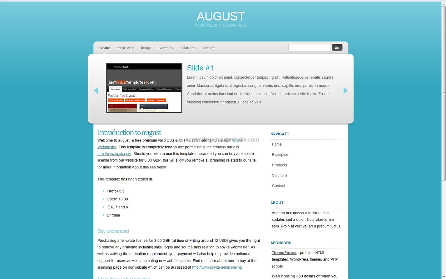 August css template