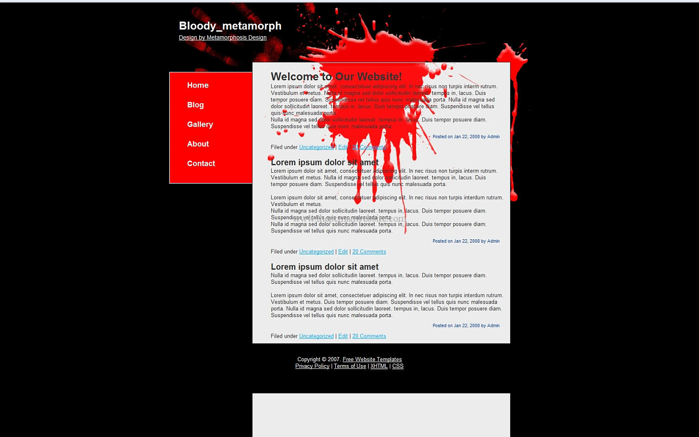 Bloody Metamorph css template