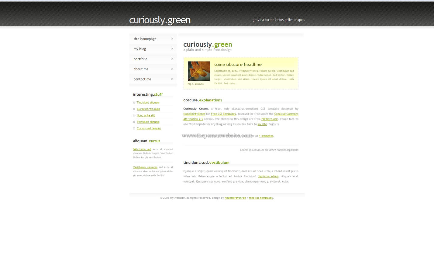 Curiously Green css template