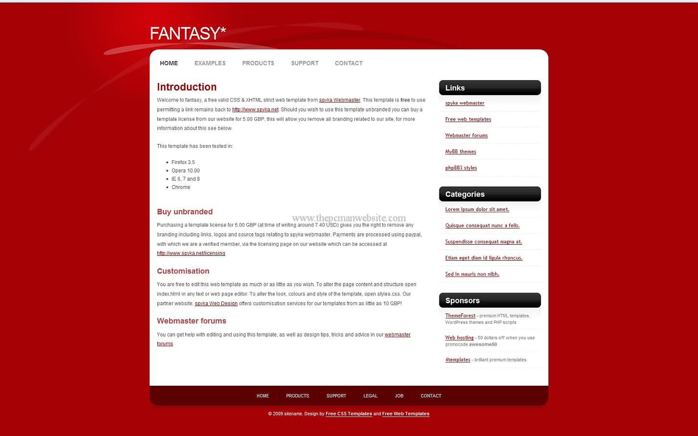 Fantasy css template