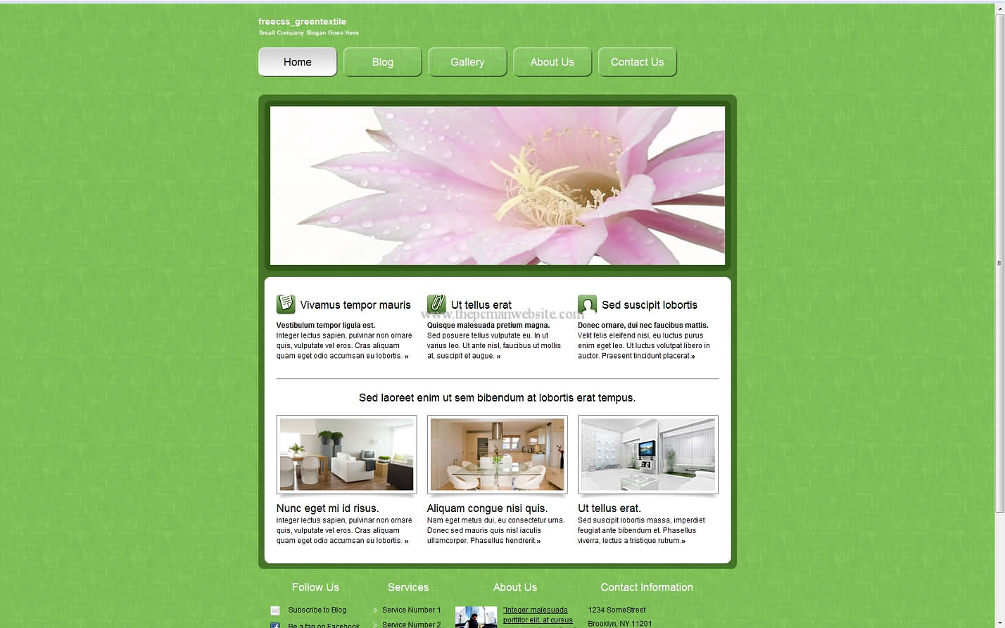 Freecss Greentextile css template
