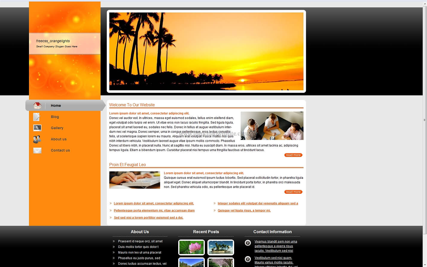 Freecss Orangelights css template
