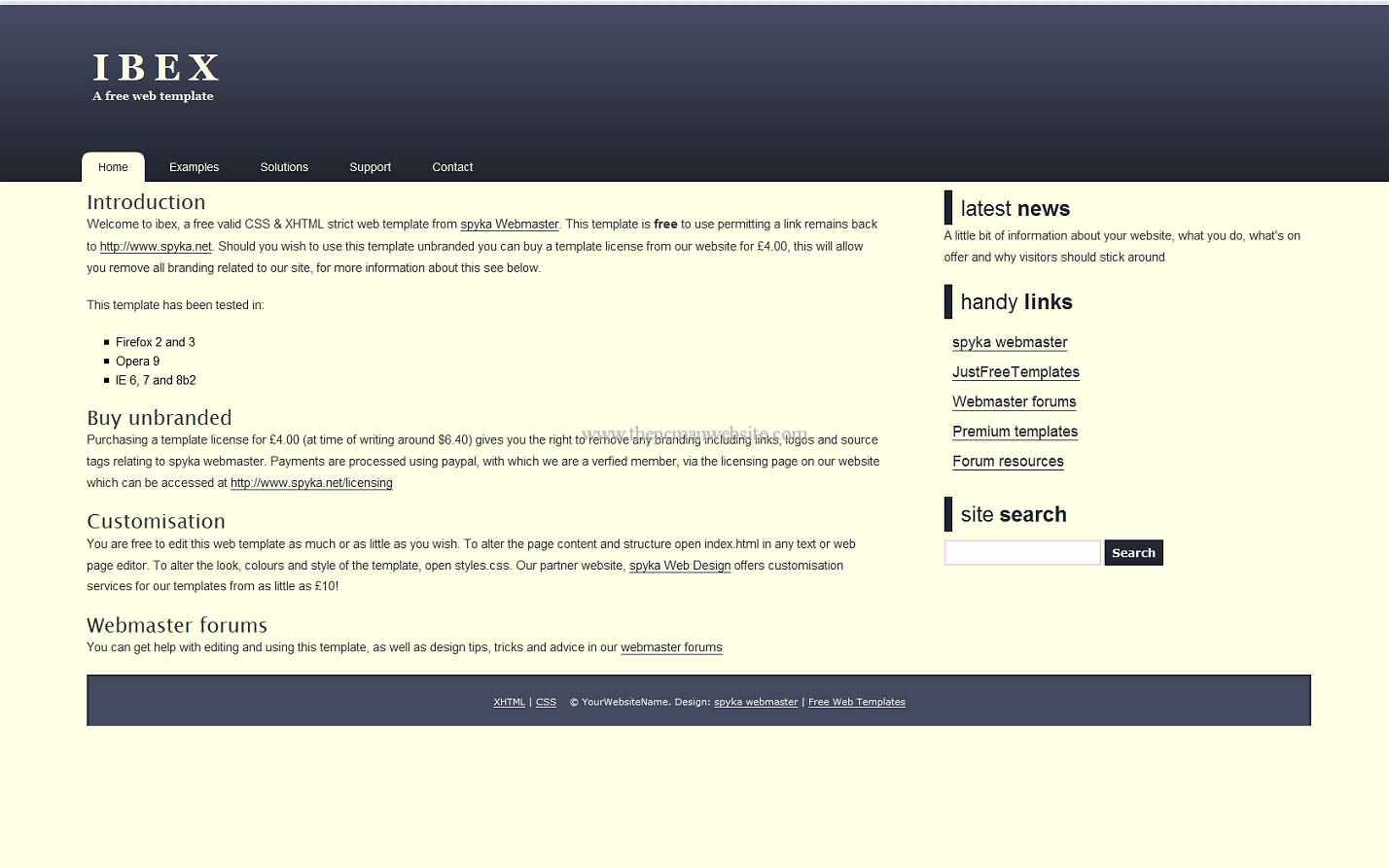 Ibex css template