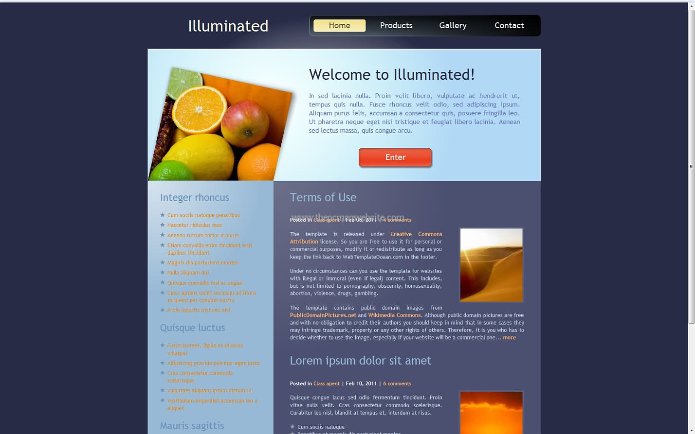 Illuminated css template