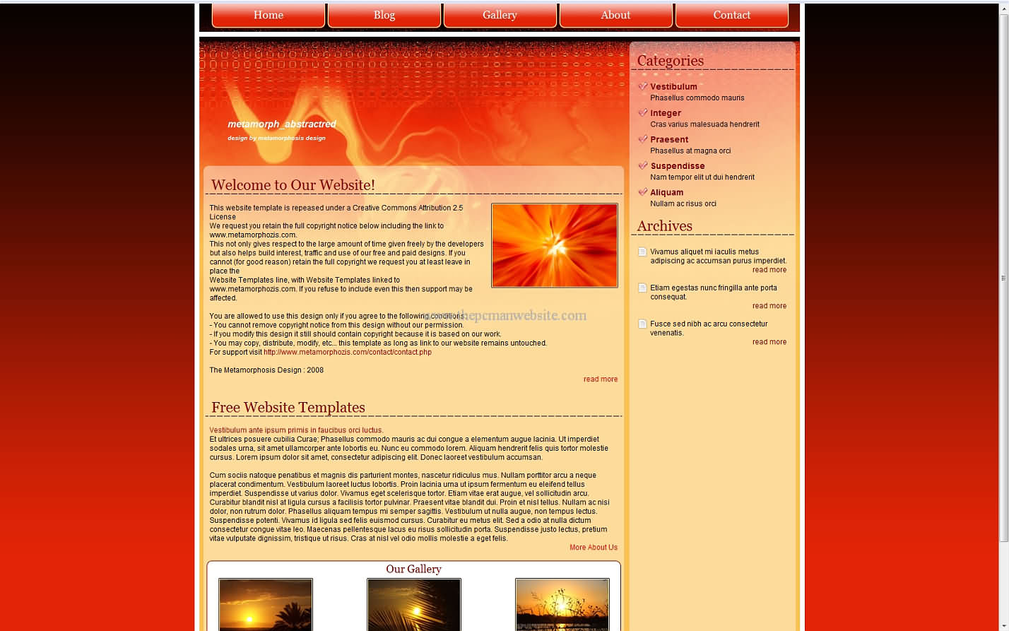 Metamorph Abstractred css template