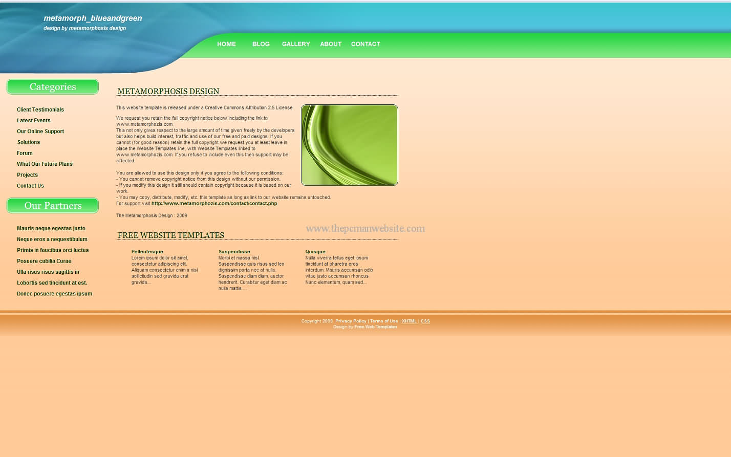 Metamorph Blueandgreen css template