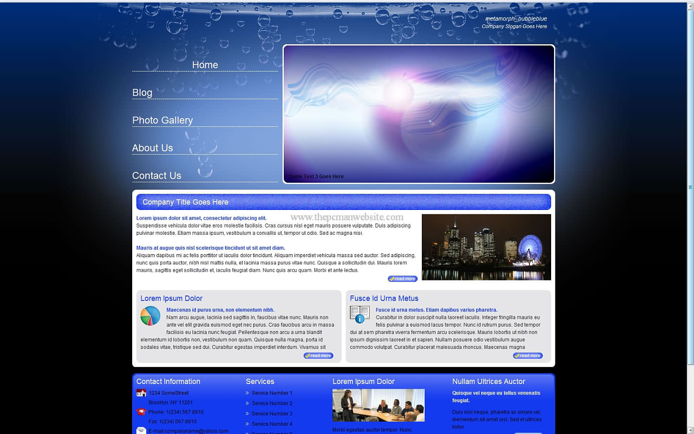 Metamorph Bubbleblue css template