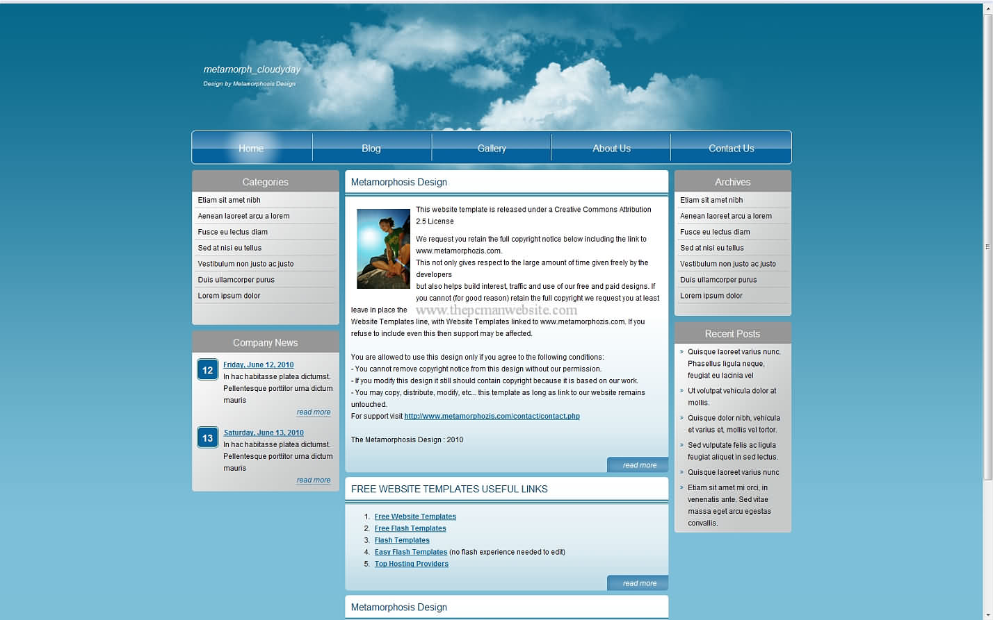 Metamorph Cloudyday css template