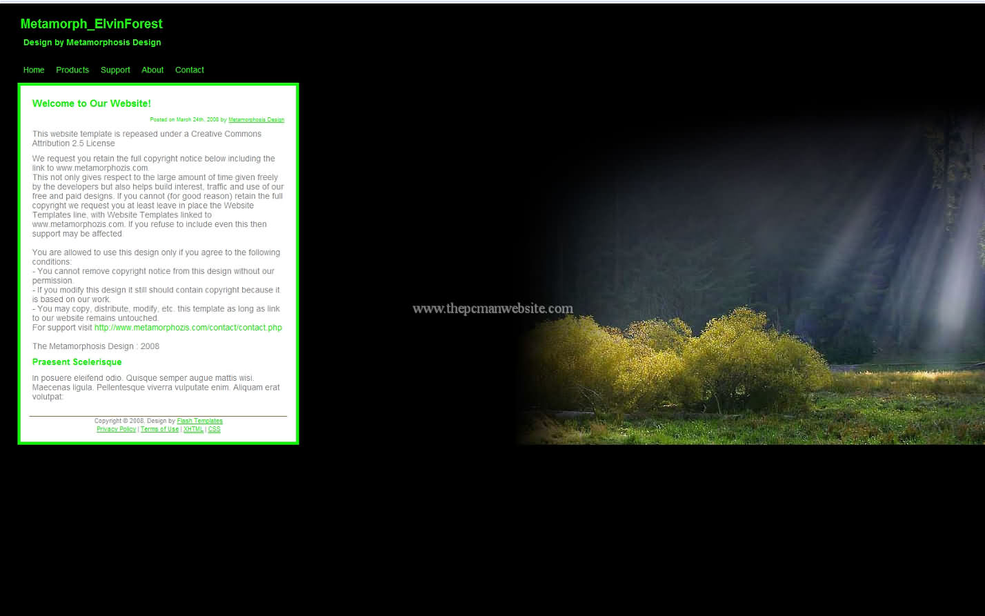 Metamorph Elvinforest css template