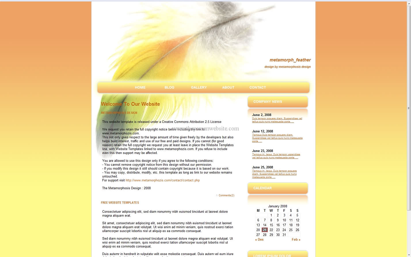 Metamorph Feather css template