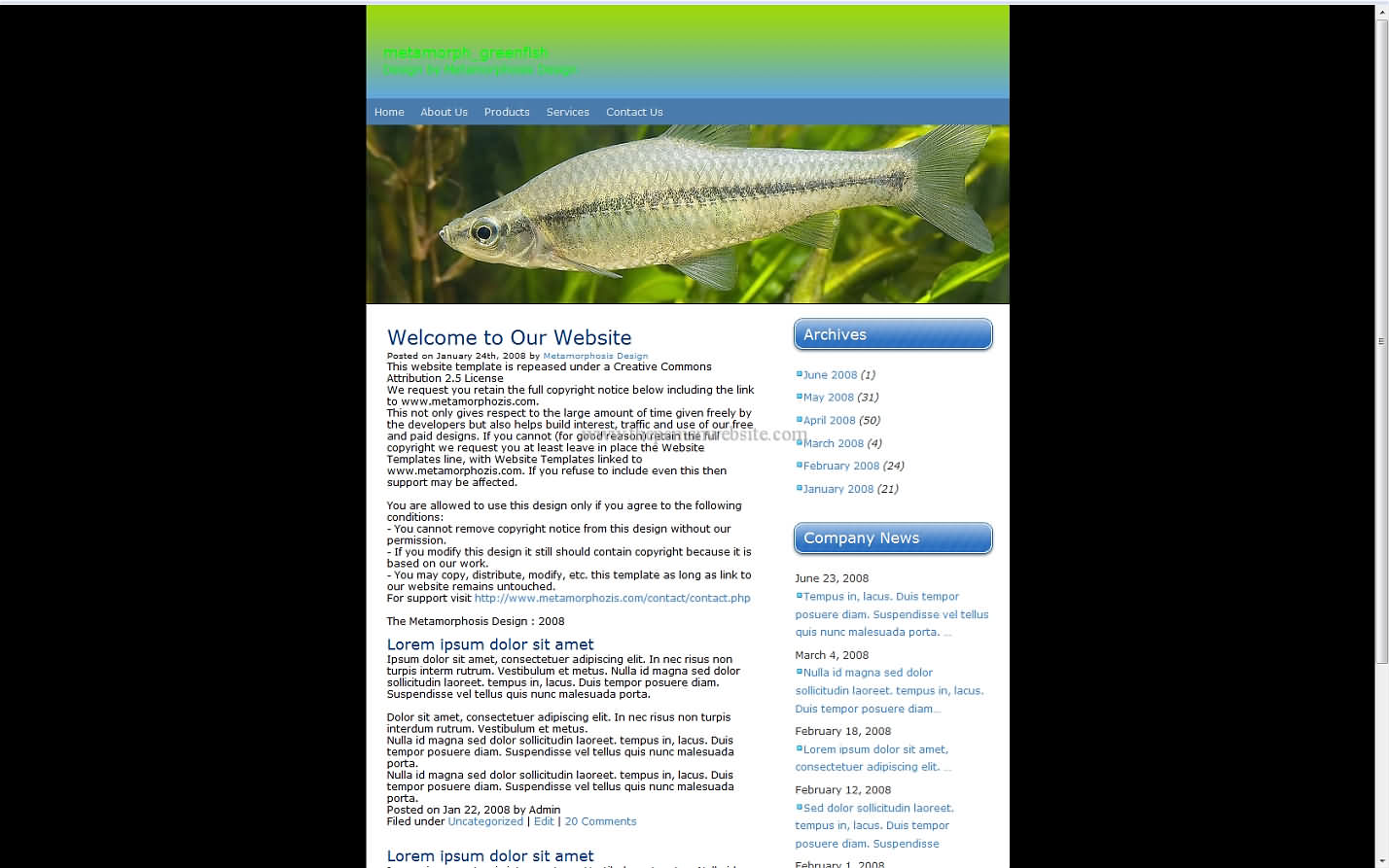 Metamorph Greenfish css template