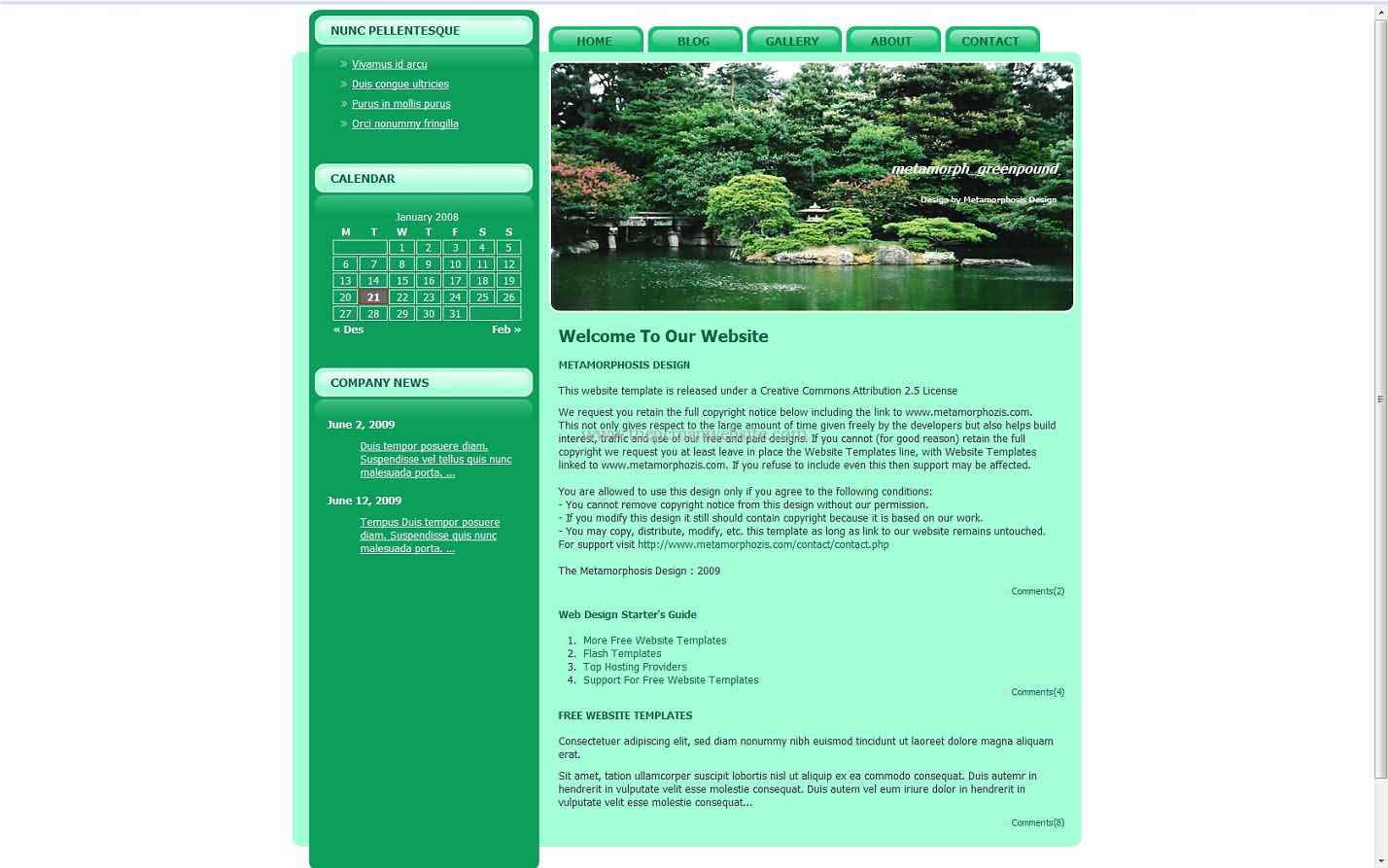 Metamorph Greenpound css template