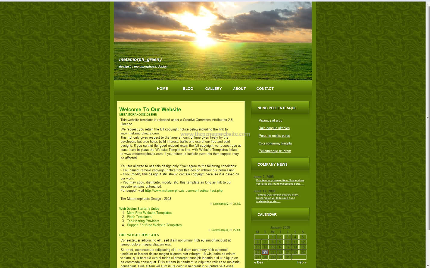 Metamorph Greeny css template