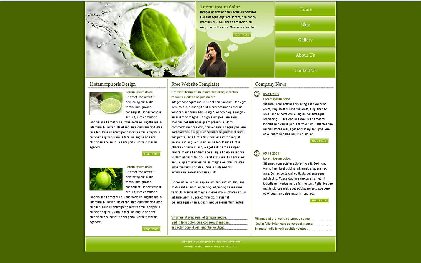 Metamorph Lime css template