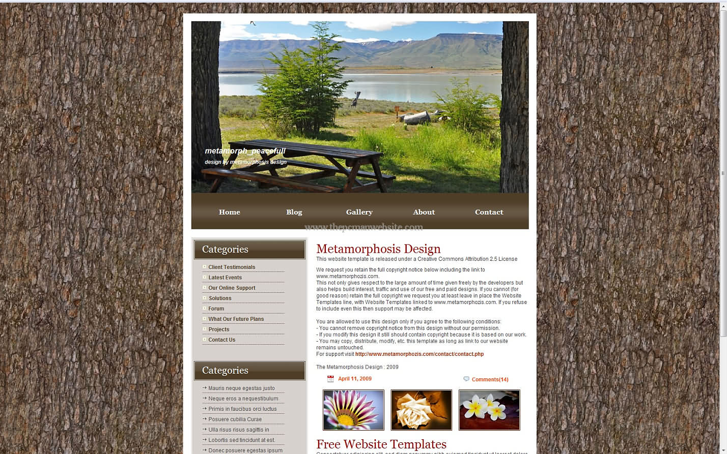 Metamorph Peacefull css template