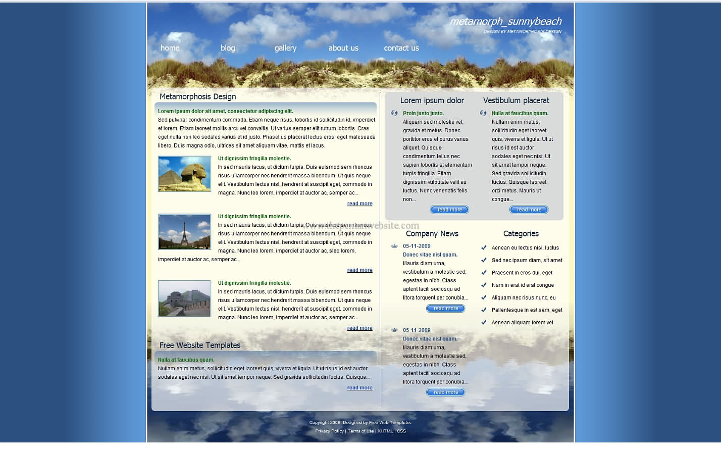 Metamorph Sunnybeach css template