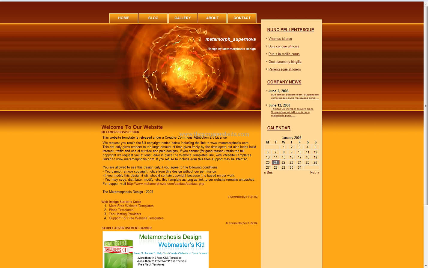Metamorph Supernova css template