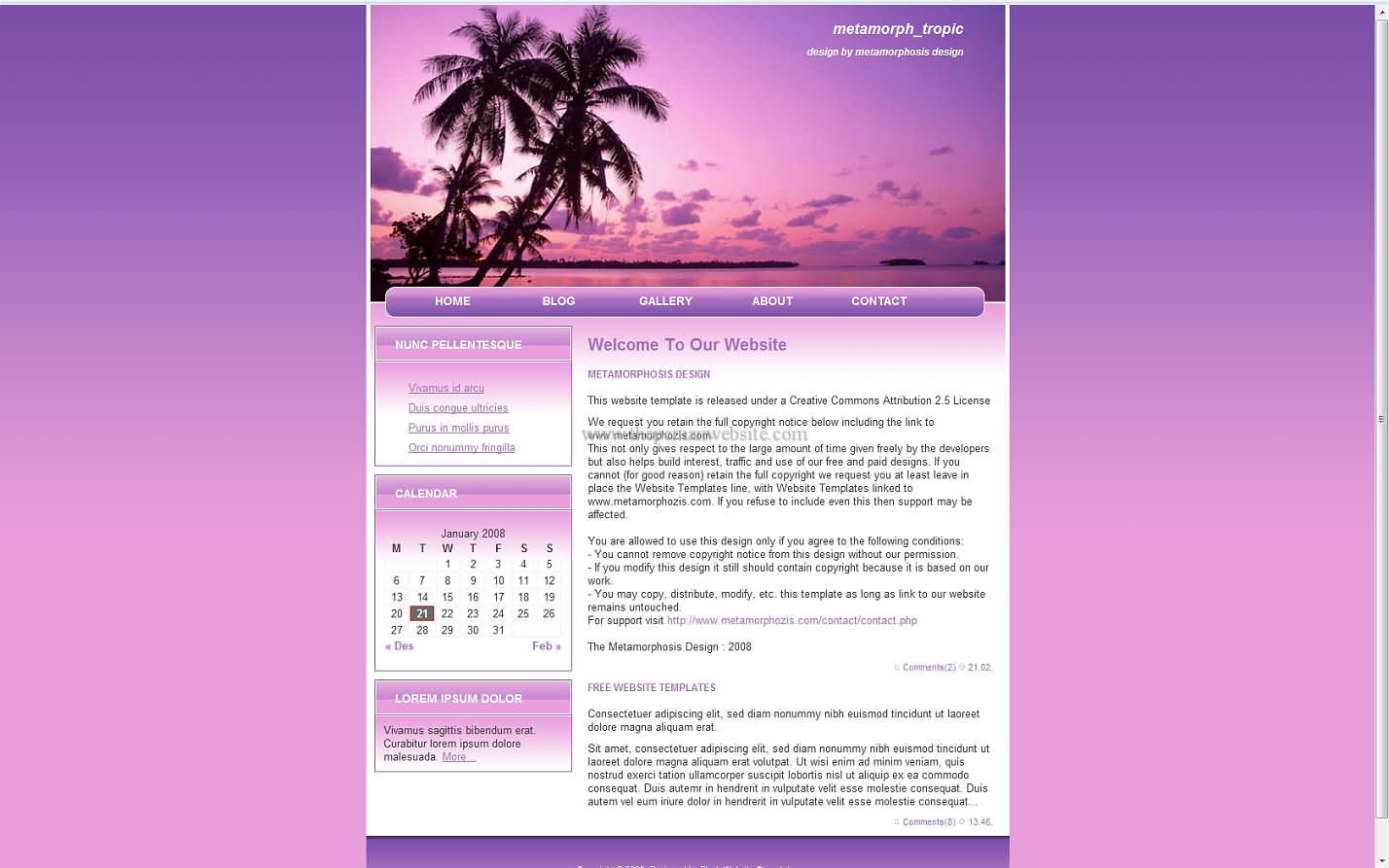 Metamorph Tropic css template