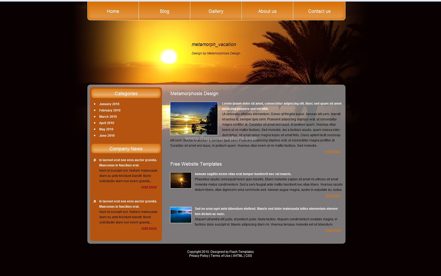 Metamorph Vacation css template
