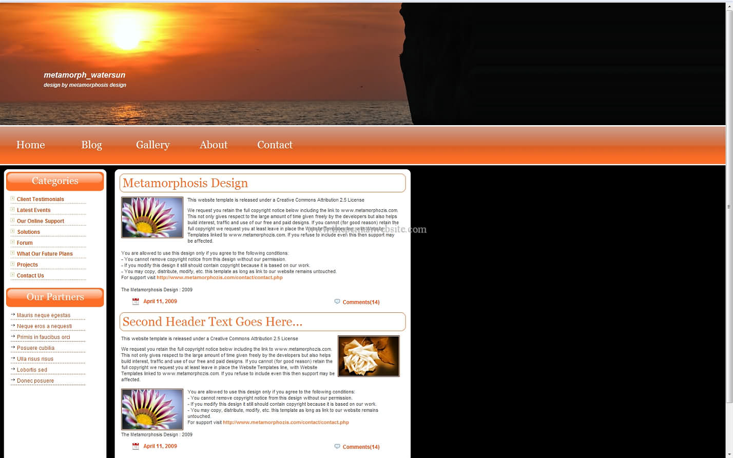Metamorph Watersun css template
