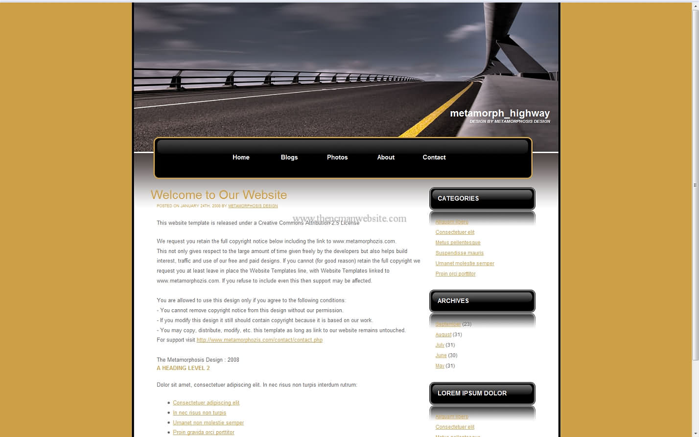 Metamorph Highway wordpress template