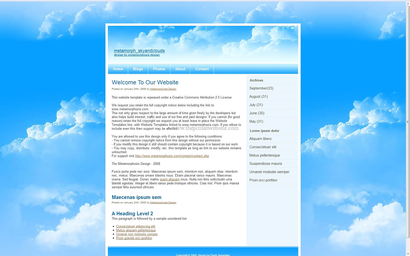 Metamorph Skyandclouds wordpress template
