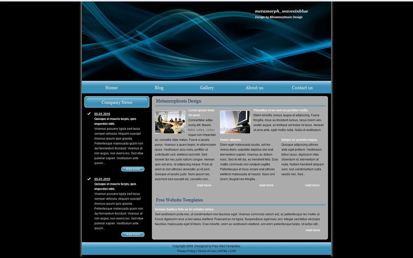 Metamorph Wavesinblue wordpress template