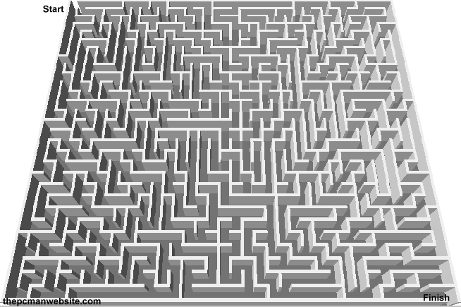 Free Mazes to Print Online 1 - The PCman Website